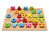 MoTrent Wooden Alphabet Puzzle Learning Board Toy for Kids
