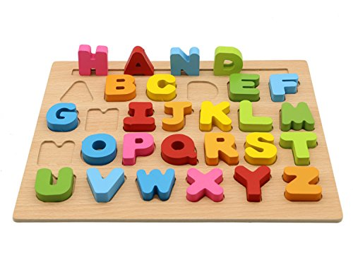 MoTrent Wooden Alphabet Puzzle Learning Board Toy for Kids -