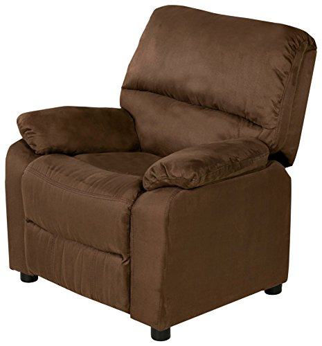 Relaxzen USB Charging Contemporary Kids Recliner with Storage Arms, Brown