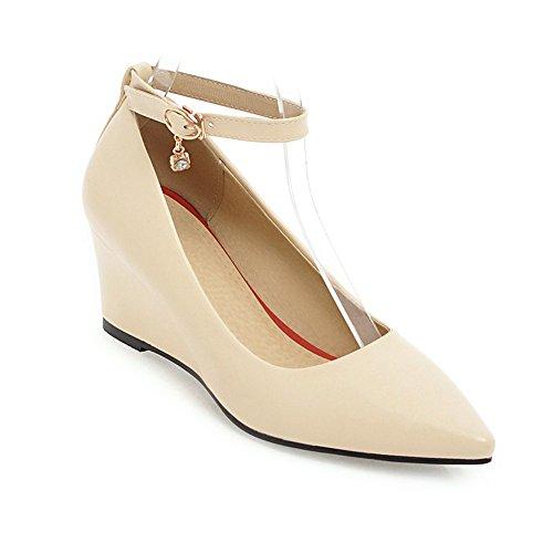 Damenschuhe Schuhe Schuhe Keilabsatz Heel Frühling KUKI Trade Frauen High Schuhe Wies Schnalle Beige Damenschuhe Herbst und vqnxpT6wx