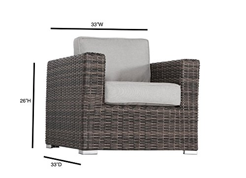 Living Source International Patio Sofa Couch Garden, Backyard, Porch or Pool All-Weather Wicker with Thick Cushions by Living Source International (Image #8)