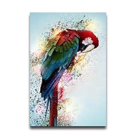 Amazon.com: Art Painting Parrot Wall Art Home Bathroom Decor ...