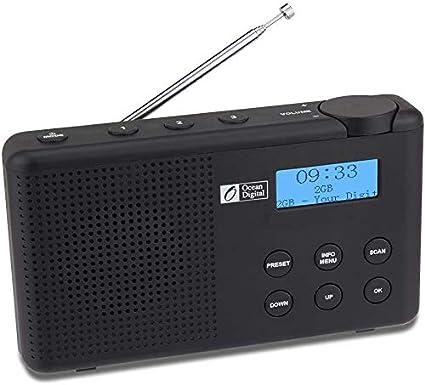 Ocean Digital DK23 Dab portátil y Dab + Radio Digital y FM con batería Recargable, Altavoz, Temporizador de Apagado, Toma de Auriculares y Antena