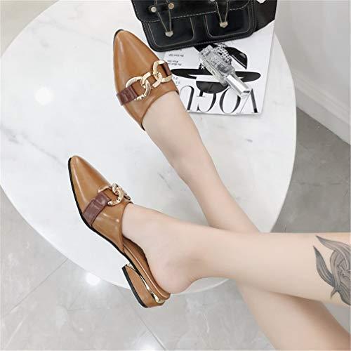 YUCH Pointu Respirant Métal Métal Décoratif Boutons Brown en Chaussures Paresseux en Pantoufles HqwOxrtHS