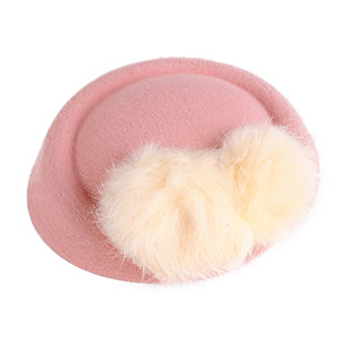 Funbase Girls Kid Fur Ball Wool Top Cap Hat Lace Fascinator Hair Clip Accessory ()