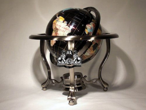 14'' BLACK ONYX GEMSTONE GLOBE with Silver Stand by Unique Art Since 1996