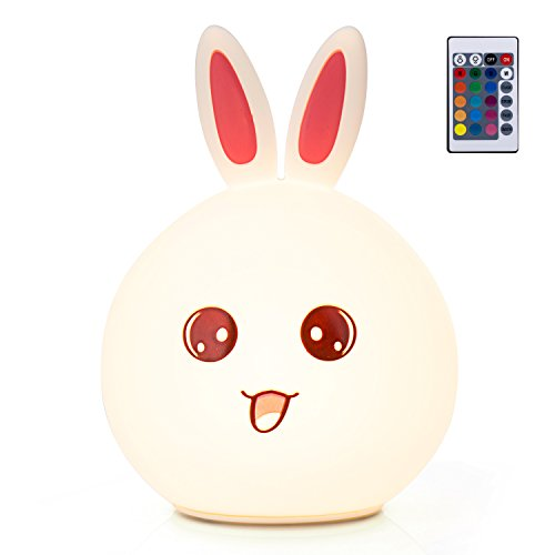 GoLine Remote & Tap Control LED Bunny Night Light, Cute Rabbit Multicolor Kids Baby Nursery Lamp, 5 Light Modes, Static/Breathing/Flashing, Brightness Adjustment, 20-hour Portable Use.(NL012-PK) by GoLine