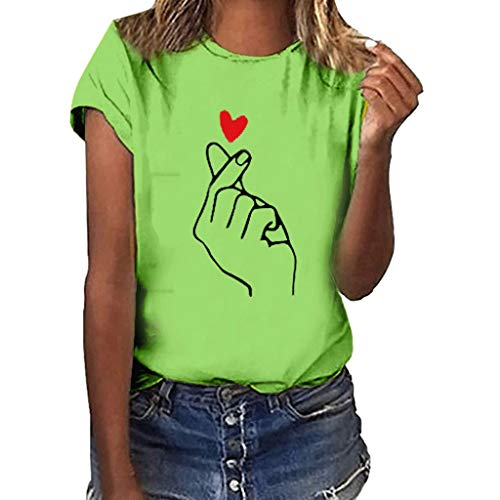 Sunhusing Women's Gestures Love Heart Print Short Sleeve T-Shirt Casual Round Neck Solid Color Slim Tops Green