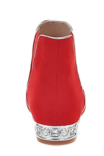 Boots Toe Pull Top Low On Women's Frosted Heels Pointed Red Low Closed Allhqfashion YwPgq
