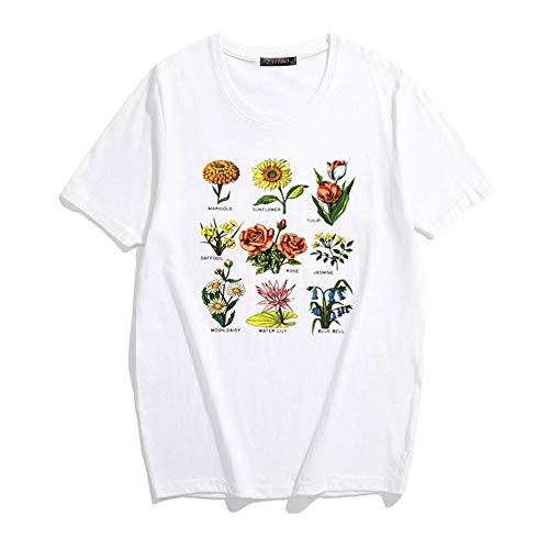 ZSIIBO Women's Funny Bees Printed T Shirt Lovely Botanic Flowers Graphic Tees Cute Tops for Youth TX15 (White-01, M)