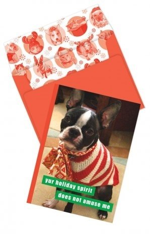 [Holiday Spirit Holiday Boxed Cards] (Striped Envelope Neck Sweater)