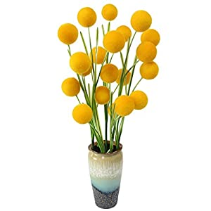 JAROWN 5pcs Artificial Dried Craspedia Flowers Yellow Billy Balls Dried Plants for Wedding Bouquet Home Decor 67