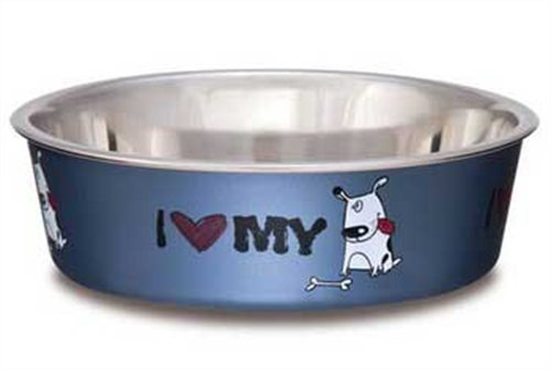 Loving Pets I Love My Dog Bella Bowl for Dogs, Large, 2-Quart, Steel Blue, My Pet Supplies