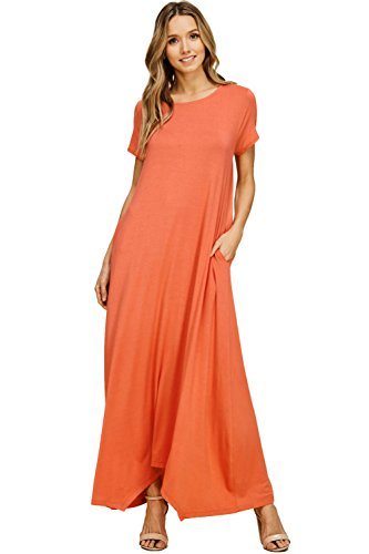 c72d4b94be6 Annabelle Women s Comfy Short Sleeve Loose Fit Round Neck Casual Maxi  Dresses Pockets