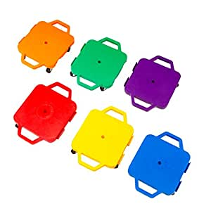 Cosom 12 Inch Plastic Childrens Scooter Board With 2 Inch Non-Marring Metal Casters and Safety Guards for Physical Education Class, with Safety Handles, Sitting Scooter Board, 6 Color Set