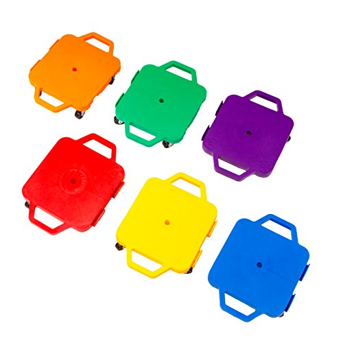 Cosom 12 Inch Plastic Childrens Scooter Board With 2 Inch Non-Marring Metal Casters and Safety Guards for Physical Education Class, with Safety Handles, Sitting Scooter Board, 6 Color Set by Cramer