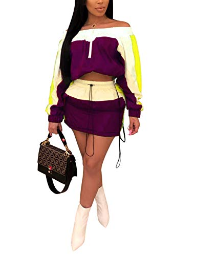 (Women Two Piece Skirt Set Color Block Off Shoulder Pullover Tops and Mini Skirt Tracksuit Purple L )