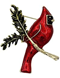 Cardinal on Branch with Enamel Brooch Pin Gold Tone Finish