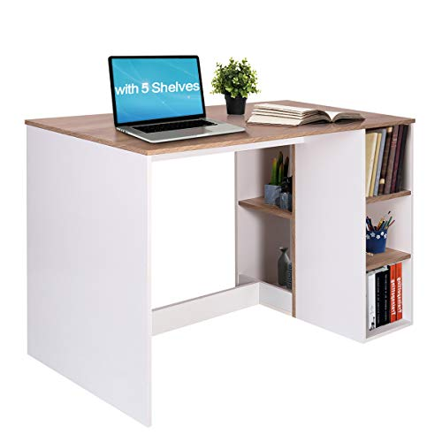 Writing-Computer Desk with Storage, Large Work Desk with 5 Shelves Students-Study Desk Home-Office PC Laptop Study Table Modern Wood Workstation with Integrated Bookcase BREN11 /Beech and White ()