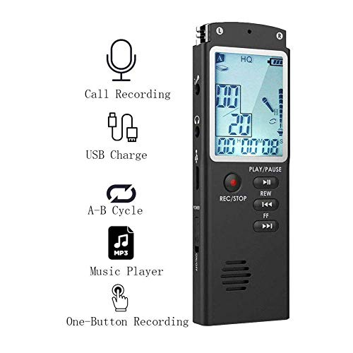 Digital Voice Recorder 8G/16G/32G Voice Activated Recorder with Playback Function LCD Audio Recording Device (32G)