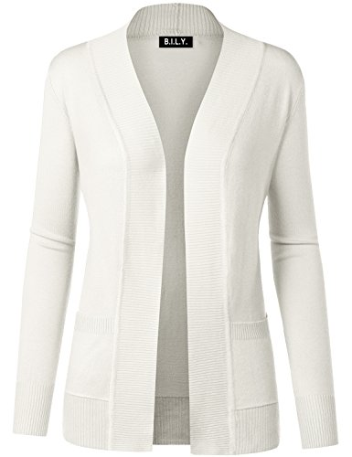 BH B.I.L.Y USA Women's Open Front Long Sleeve Classic Knit Cardigan Ivory Small
