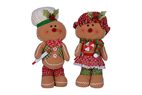 Smiling Mr. and Mrs. Gingerbread 16 x 8 Plush Christmas Figurine Set of 2 ()
