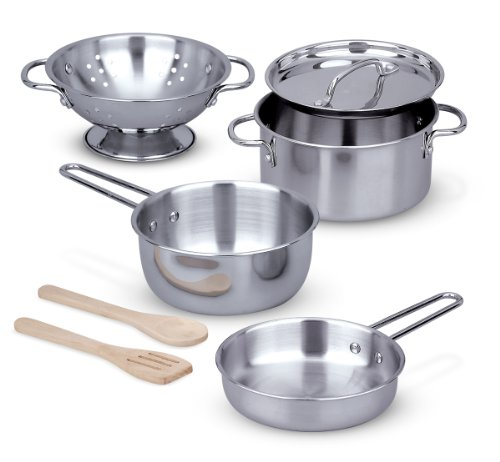 [Melissa & Doug Stainless Steel Pots and Pans Pretend Play Kitchen Set for Kids (8 pcs)] (Halloween Costumes For 4 People)