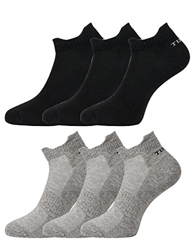 Tisoks 6 Pairs Mixed Mens and Womens Titanium Anti Odor Antifungal Sports Ankle Socks Antibacterial for Athletes Feet ()