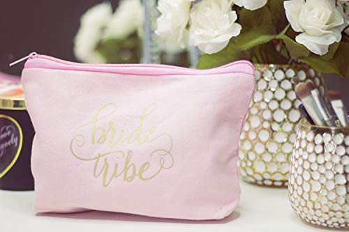 11 Piece Set of Pink Bride Tribe and Bride Canvas Makeup Bags for Bachelorette Parties, Weddings and Bridal Showers!