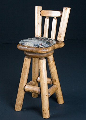 (Viking Log Furniture NWS PBSC3 44.5 x 19 x 22 in. Bar Stool Cushion Seat with Back & Sivel - Honey Pine)