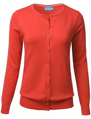 FLORIA Women Button Down Crew Neck Long Sleeve Soft Knit Cardigan Sweater ORANGE L (Sweater Cardigan Orange)