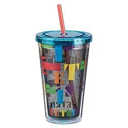 Vandor 77014 TETRIS 18 Ounce Acrylic Travel Cup, Multicolored