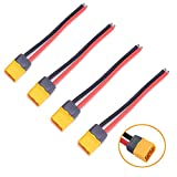 HOBBYMATE 4PCS XT60H Sheath Male Connectors w/14awg Power Cable for ESC