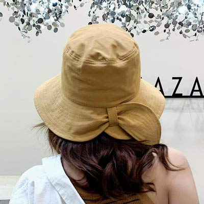 LDIEHWD Spring Summer Women Bow Yellow Bucket for Girl Fashion Lovely Windproof Fisherman Outdoor Sunscreen Cap Bob Hat Camel