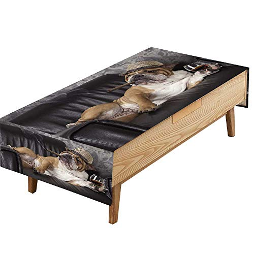 PINAFORE Indoor/Outdoor Polyester Tablecloth Humorous Photograph English Bulldog Resting in a Black Leather Chair a cigarand Glass Wedding Decoration Table Cover Color W70 x L90 INCH
