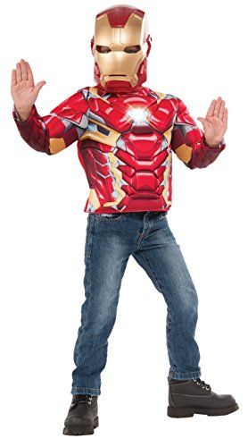 [Imagine by Rubies Iron Man Deluxe Costume Top with Light Up Icon Costume] (Iron Man Shirt And Mask Costumes)