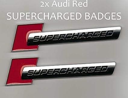 Pair Black/&Red Supercharged Emblem Badge Decal Trunk Sticker Q7 A6 A8 A5 A4 A3