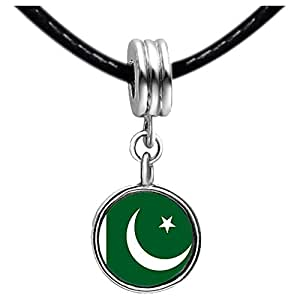 Chicforest Silver Plated Pakistan flag Photo Sapphire Crystal September Birthstone Flower dangle Charm Beads Fits Pandora Charm Bracelet
