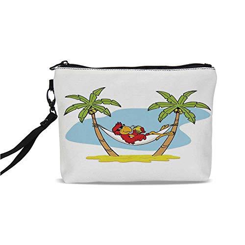 Tropical Simple Cosmetic Bag,Funny Illustration of Parrot Lying Down in Hammock between Palm Tree Shade in Tropics for Women,9