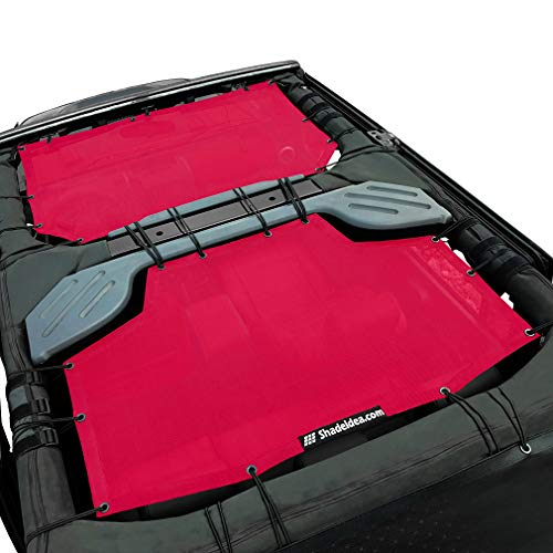 Shadeidea Jeep Wrangler Sun Shade JK Unlimited 4 Door-Cherry Red Mesh Screen Sunshade JKU Top Cover UV Blocker with Grab Bag-One time Install 10 years Warranty
