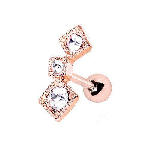 Square Button Earrings (Amelia Fashion 16 Gauge Rose Gold Triple Square Tragus/Cartilage Earring Stud 316L Surgical Steel (Choose Color) (Rose Gold & Clear))