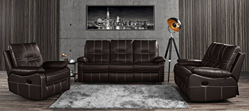 Leather Sofa Set 3 Pieces, Reclining Living Room Couch Set of 3 (Dark Brown) (Leather Loveseat Steel)