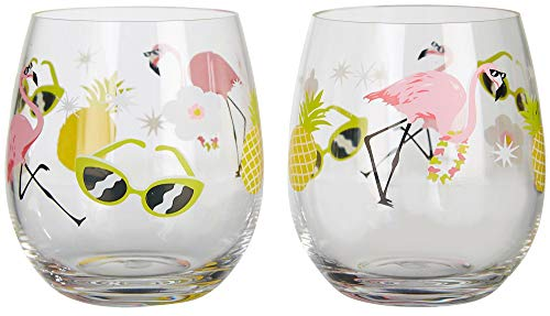 Tropix 2-pc. Flamingo Stemless Goblet Set One Size Pink/green ()