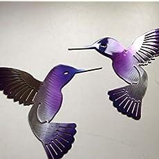 "Hummingbird  Fuchsia Tainted Metal Wall Art Decor 6/"" x 6/"""