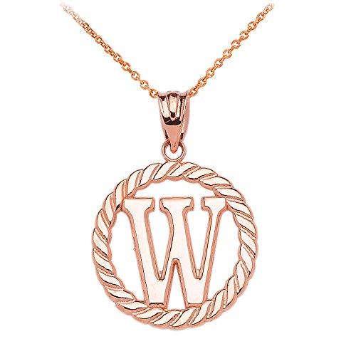 """Collier Femme Pendentif 10 Ct Or Rose """"W"""" Initiale À Corde Cercle (Livré avec une 45cm Chaîne)"""
