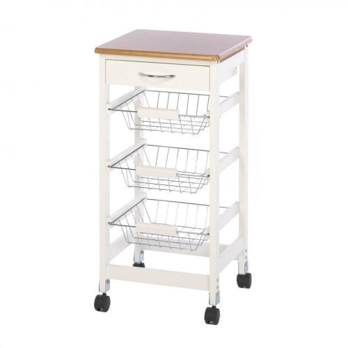 Wood-Top Kitchen Cart with Baskets by Accent Plus