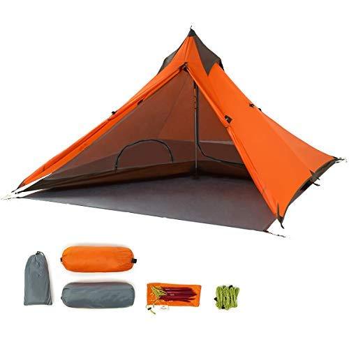 Trekkingstok, ultralichte tent voor 1 persoon, 3 seizoenen, lichte piramidetent voor bergbeklimmen, wandelen, kamperen