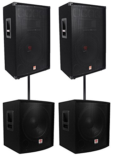 "Price comparison product image (2) Rockville RSG15 15 3000w Passive DJ / Pro Audio PA Speaker+(2) 15"" Subwoofers"