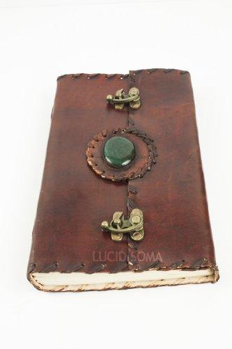 6 x 4 Handmade Leather Sketchbook, Journal, Diary with 2 locks and a magic stone