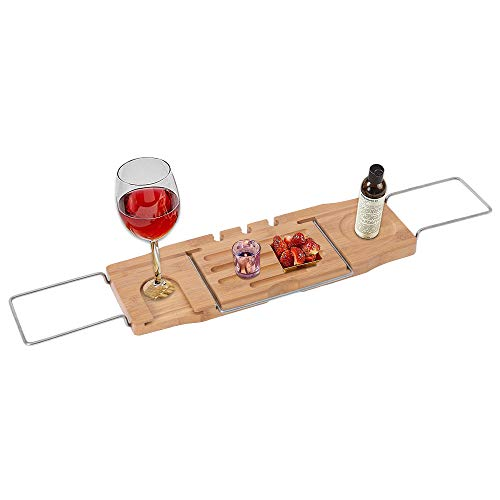 - Expandable Bamboo Bathtub Caddy Tray Bathtub Rack with Stainless Steel Arms Adjustable Book Holder and Slots for Wine Ipad Phone